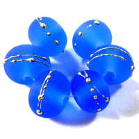 Handmade Lampwork Glass Beads, Dark Blue, Silver, Etched, Frosted 056efs