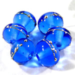 Handmade Lampwork Glass Beads, Dark Blue Silver Shiny Glossy 056gfs