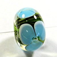 Handmade Lampwork Glass Beads, Blue Flowers Green Vines Clear Shiny