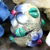Handmade Lampwork Glass Focal Bead, Extra Large Barrel, Flowers Ivory Organic Shiny