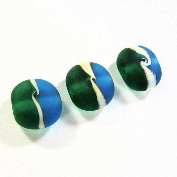 Lampwork Glass Bead Set, Lampwork Lentil Beads, Aqua Blue Green Ivory Etched