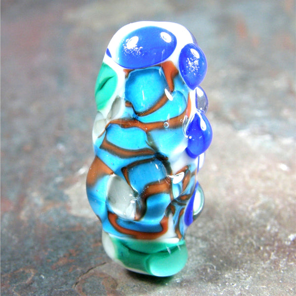 Handmade Lampwork Glass Focal Bead, Oblong Blue Coral Green Dots Shiny