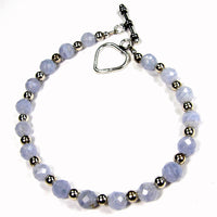 Blue Lace Agate Gemstone Bracelet, Sterling Silver, Heart Toggle Clasp