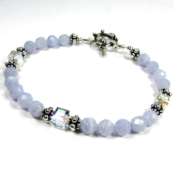 Luxurious Blue Lace Agate Gemstone and Swarovski Bracelet, Sterling Handmade Jewelry