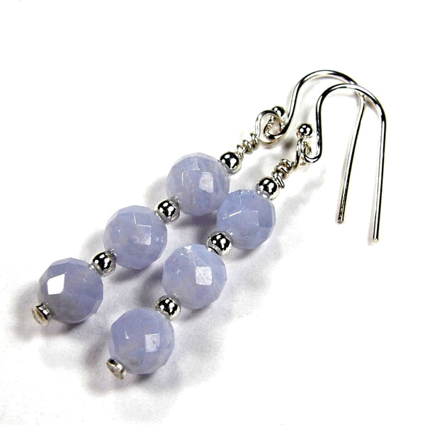 Triple Stacked Blue Lace Agate Dangle Earrings, Sterling Silver, Handmade