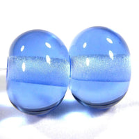 Handmade Lampwork Glass Beads, Light Blue Shiny Glossy 052g