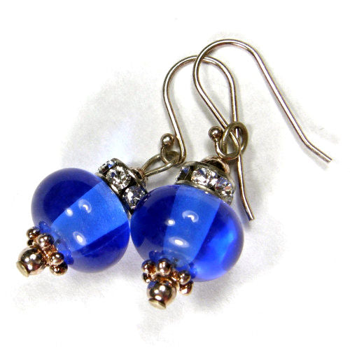 Transparent Dark Blue Lampwork Dangle Earrings Swarovski Crystals Sterling Silver
