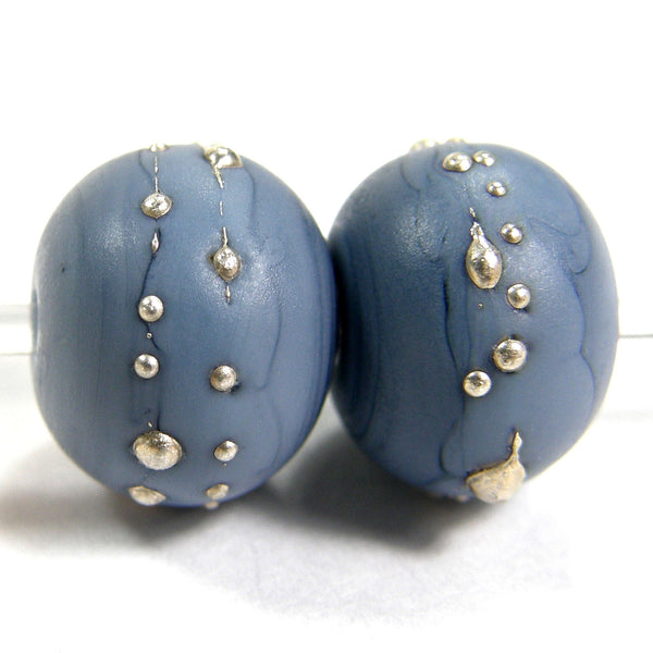 Handmade Lampwork Glass Beads, Navy Blue Silver Etched Matte 238efs