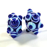 Handmade Lampwork Glass Beads, Cobalt Blue Light Sky Blue Dots Shiny