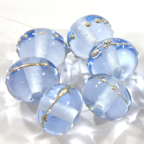 Handmade Lampwork Glass Beads, Pale Blue Silver Shiny Glossy 050gfs