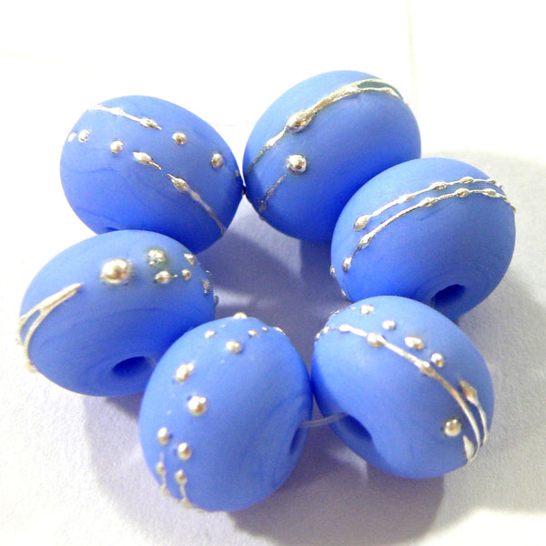 Handmade Lampwork Glass Beads, Periwinkle Blue Silver Etched 220efs