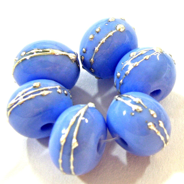 Handmade Lampwork Glass Beads, Periwinkle Blue Silver Shiny 220gfs
