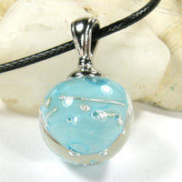 Sky Blue High Lampwork Galaxy Pendant Necklace Globe Sphere 20020