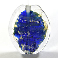 Handmade Lampwork Glass Focal Bead Encased Blue Silver Leaf Clear