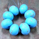 Handmade Lampwork Glass Beads, Dark Sky Blue Silver Etched Matte 228efs