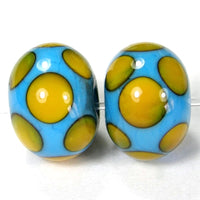 Handmade Lampwork Glass Dot Beads, Sky Blue Apricot Orange Shiny
