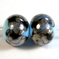 Handmade Lampwork Glass Beads, Sky Blue Black Webs Metallic Shiny
