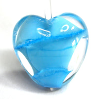 Handmade Lampwork Glass Heart Beads, Creamy Blue Skies