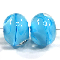 Handmade Lampwork Glass Bead Pair, Creamy Blue Skies Clear Shiny