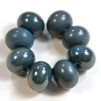 Handmade Lampwork Glass Beads, Dark Turquoise Rustic Metallic Shiny 236g