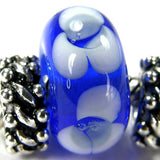 Handmade Large Hole Lampwork Beads, Lampwork Glass Flower Beads, Blue White
