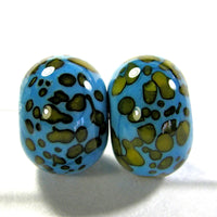 Handmade Lampwork Glass Frit Beads, Dark Sky Blue Yellow Shiny
