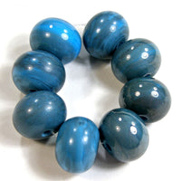Handmade Lampwork Glass Beads, Dark Sky Blue Rustic Metallic Shiny 228g