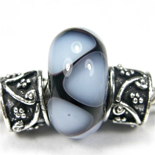 Handmade Large Hole Lampwork Beads, Glass Charms Black Pale Blue Shiny
