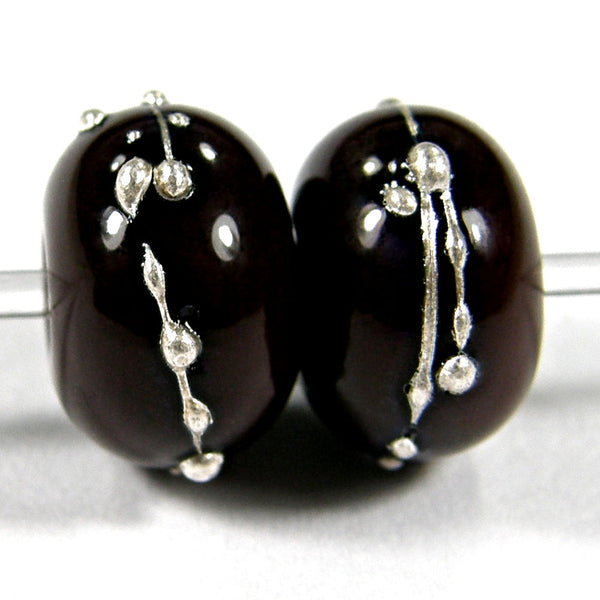 Handmade Lampwork Glass Beads, Dark Brown Silver Shiny Glossy 448gfs