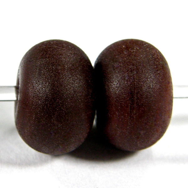 Handmade Lampwork Glass Beads, Dark Brown Etched Matte 448e