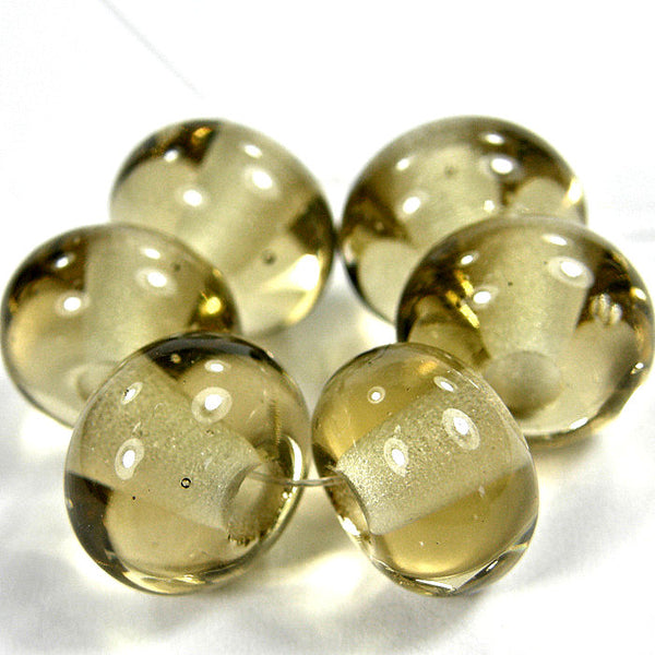 Handmade Lampwork Glass Beads, Transparent Light Brown Glossy 018g