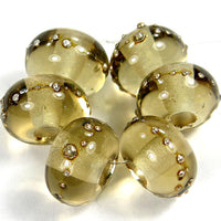 Handmade Lampwork Glass Beads, Transparent Light Brown Silver Glossy 018gfs