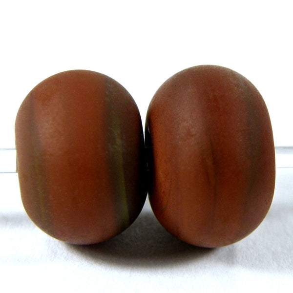 Handmade Lampwork Glass Beads, Light Brown Etched Matte 444e