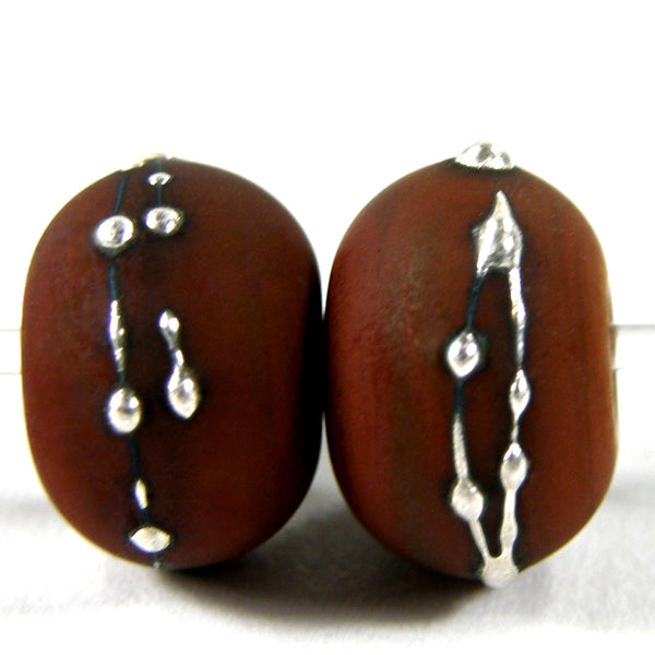 Handmade Lampwork Glass Beads, Light Brown Silver Etched Matte 444efs