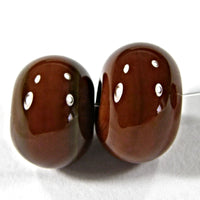 Handmade Lampwork Glass Beads, Light Brown Shiny Glossy 444g