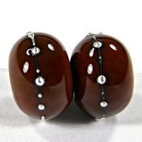 Handmade Lampwork Glass Beads, Light Brown Silver Shiny Glossy 444gfs