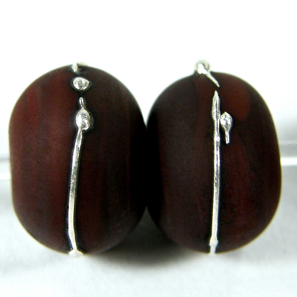 Handmade Lampwork Glass Beads, Dark Red Brown Silver Etched 452efs