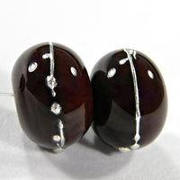 Handmade Lampwork Glass Beads, Dark Red Brown Silver Shiny 452gfs