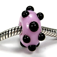 Handmade Large Hole Lampwork Beads, Art Glass Charms Pink Black Dots