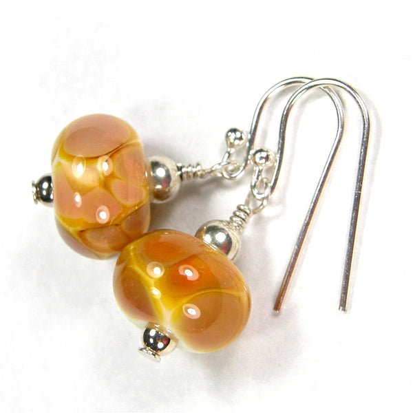 Butterscotch Lampwork Dangle Earrings, Sterling Silver, Artisan Handmade Jewelry