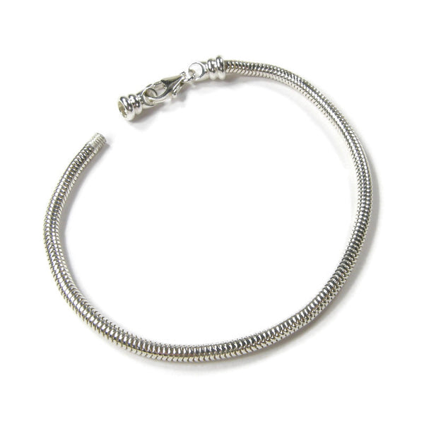 Sterling Silver Snake Chain Charm Bracelet With Threaded End Cap