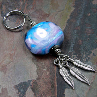 Southwestern Lavender Blue Sunset Lampwork and Feather Key Chain