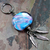 Key Chain, Lavender Blue Sunset Feather Lampwork Key Chain