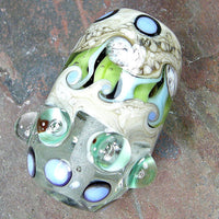 Handmade Lampwork Glass Focal Bead, Barrel Dots Ivory Blue Green Shiny