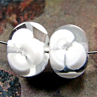 Handmade Lampwork Glass Flower Beads, Transparent Clear White Shiny