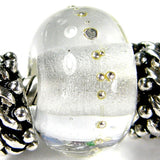 Handmade Large Hole Lampwork Beads, Glass Bracelet Bead, Clear Fine Silver Shiny