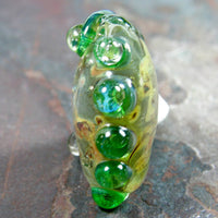 Handmade Lampwork Glass Focal Bead, Extra Large Lentil Clear Raku Green Shiny