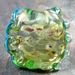 Handmade Lampwork Glass Focal Bead, Extra Large Lentil, Clear, Raku, Green, Shiny