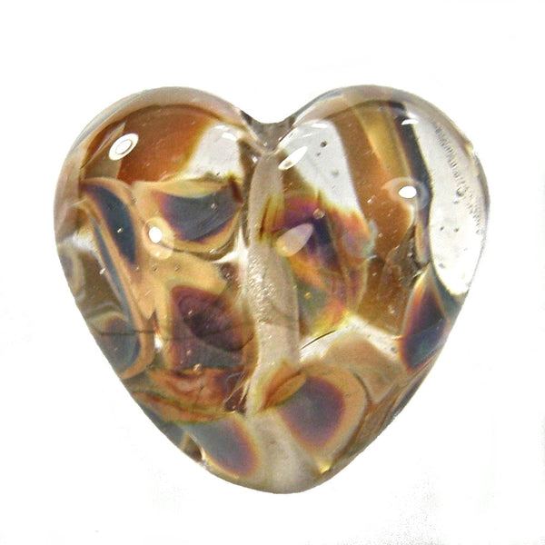 Handmade Lampwork Glass Heart Beads, Clear Raku Shiny