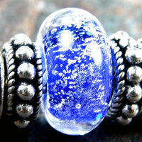 Handmade Large Hole Lampwork Beads, Artisan Glass Charms, Intense Blue Dichroic